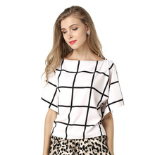 B10692A europe lady white and black plaid loose chiffon tops summer ladies blouse chiffon wholesale fashion t shirt