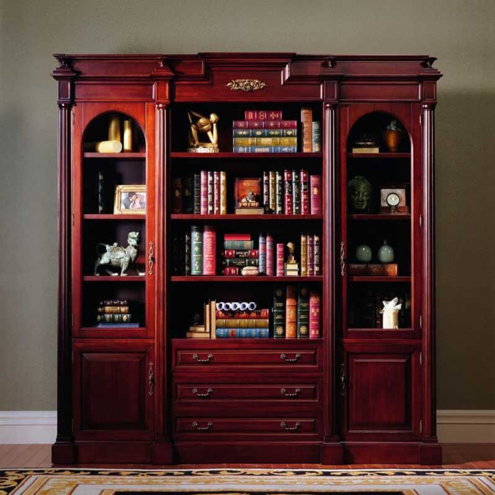 Mahogany Furniture Design Classic Furniture Carved Bookcase with Drawer