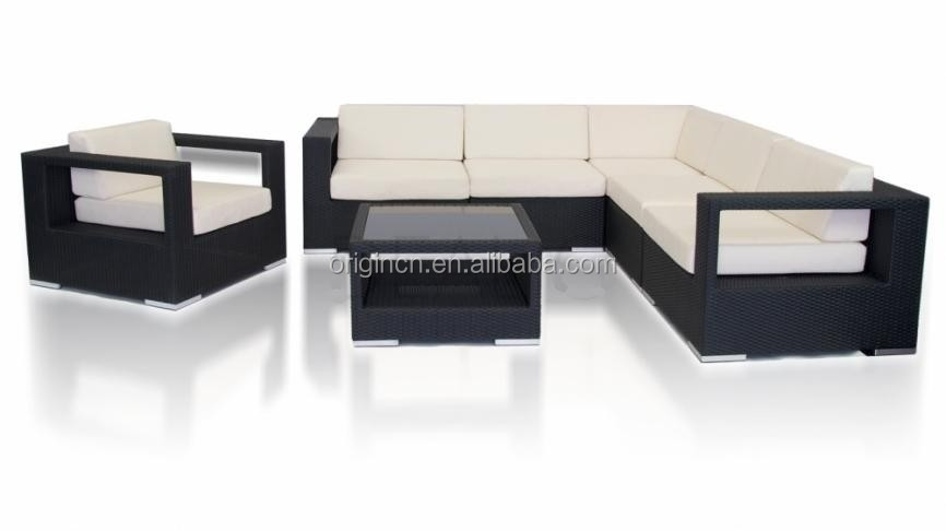 Contemporary indoor sitting room or outdoor swimming pool furniture wicker rattan latest l shaped sofa designs