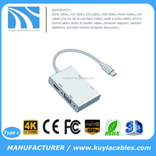 KUYIA 4 in1 USB 3.1 Type C to HDMI+VGA+DVI+USB3.0 Female Adapter Aluminium Adapters 4K 1080P For Macbook Laptop