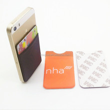 Spandex 3M Adhesive Pocket Smart Sticker Card Sleeve Mobile Phone Case Wallet
