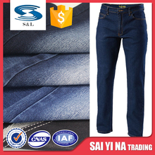 Stretch polyester cotton twill jeans denim fabric for men trousers