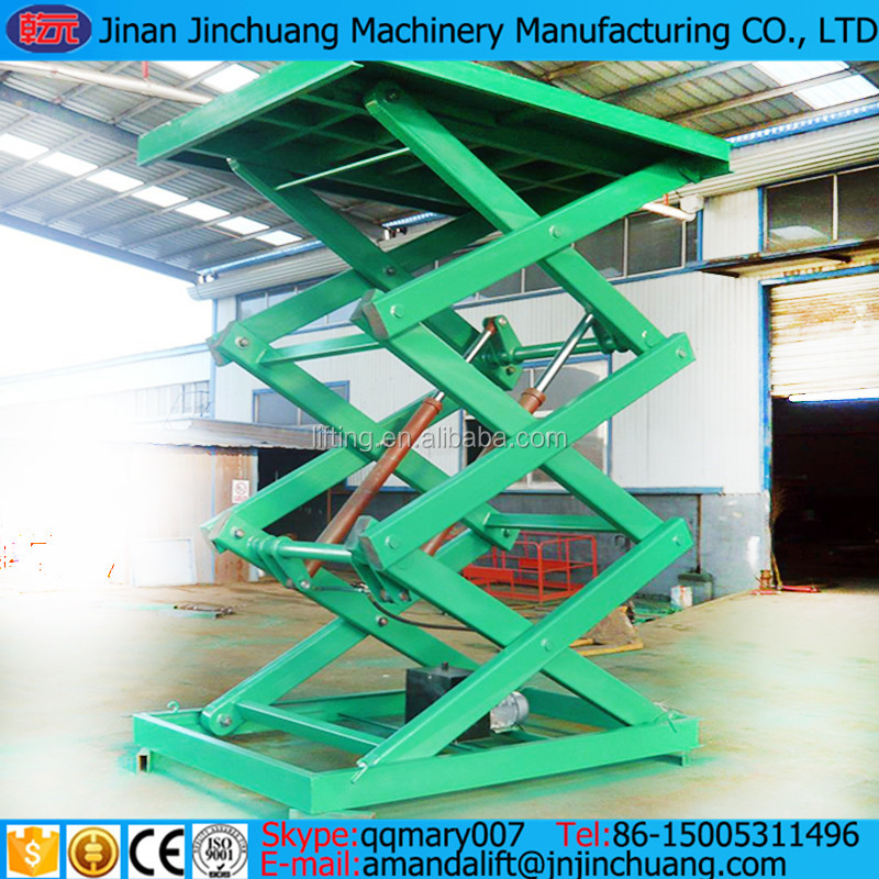 Fixed scissor lift platform / hydraulic cargo lift / goods lift for warehouse