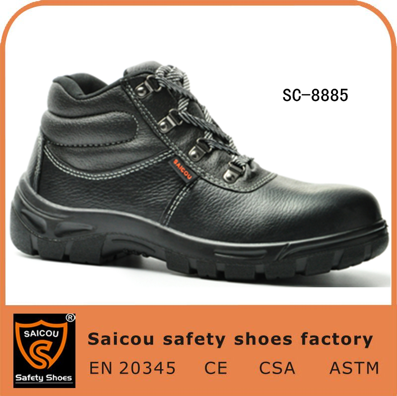 steel toe security work shoes and black leather work footwear and takumi safety shoe SC-8885