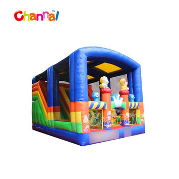 Indoor inflatable fun city inflatable obstacle playground with roof
