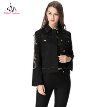 Black Turn Down Collar Women Formal Shirt Blouse Gold Button Metal Sequin Summer Shirt Jacket for Lady