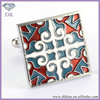 "W~~~""Dikina"" Manufacturing cheap price Symmetrical pattern cuff links // Custom metal souvenir wholesale cufflinks base"