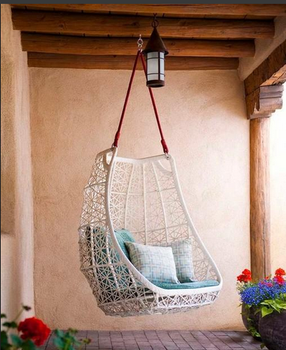 Gladys New Arrival Hot Sale White Wicker Patio Swing Chair Garden