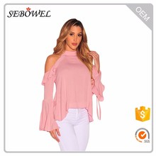 Pink Sexy Flirt Cold Shoulder Ruffle Flare Sleeve chiffon blouse Top for women