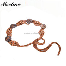 Hand Woven Bohemian Ethnic Style Women Belt Sweet Colored Wooden Beads Adornment Waist Chain Girdle Waistband Dress Belts