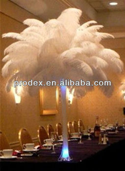 Party decorations of ostrich feather centerpiece