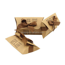 "New Kraft ""Thank you"" Wedding Party natural Brown kraft Pillow favor gift boxes(BF897)"