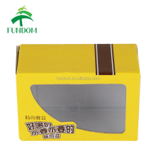 China box supplier personalized PVC window yellow corrugated paper food packing wholesale boxes with logo
