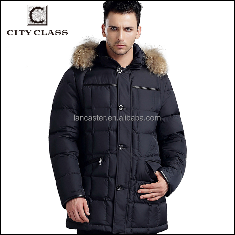 13226 Wholesale High Quality Men Long Fur Winter Coats Hot Sale Casual Slim Fit Duck Down Coat With Hood