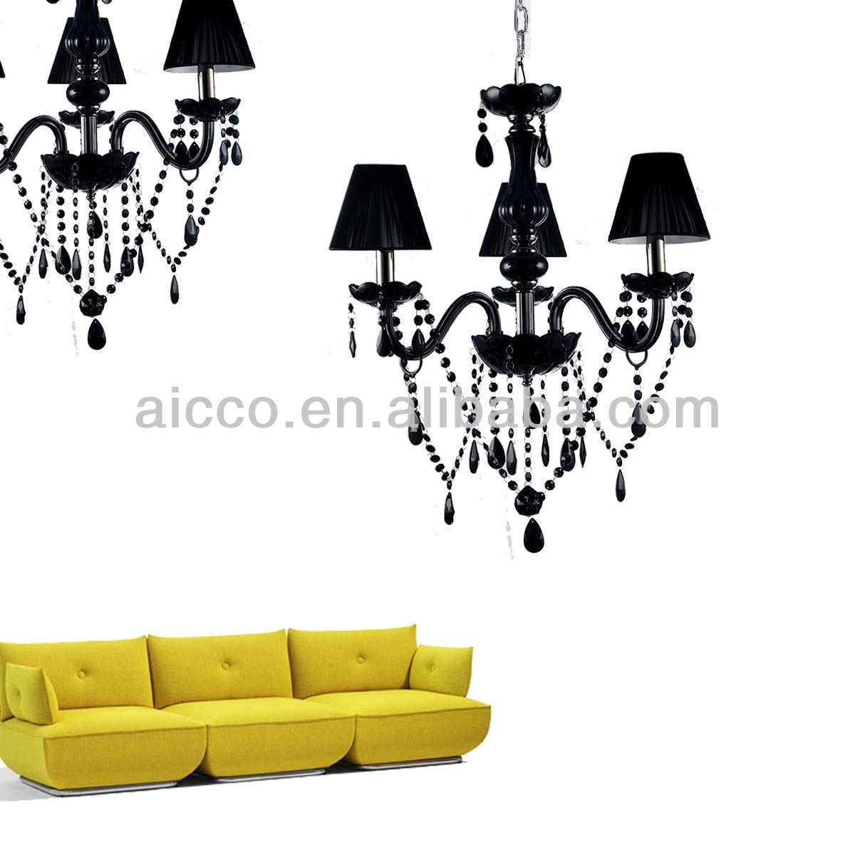 Hot Sell Black Crystal Black Glass Chandelier Lighting