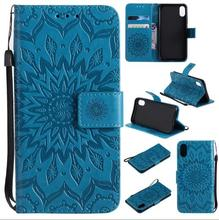 Sunflower Embossed Leather PU Flip Stand Cover Card Slots Wallet Case With Strap for iPhone 8/8 Plus/X