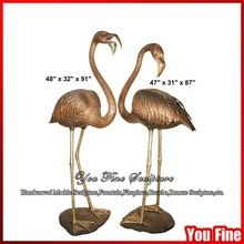 Garden Cast Bronze Flamingo Figurines Sculpture