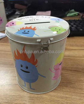 Custom made small metal tin can money box