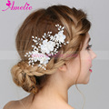 Floral Bridal Clip Crystal Flower Wedding Hair Piece Hairpiece Accessories Bride Comb Headpiece Prom Jewelry for Wedding