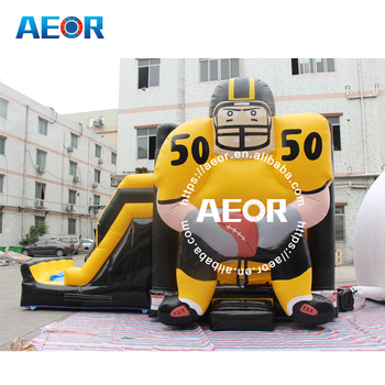 Popular football inflatable player Jump & Slide combo/inflatable moonwalk/ commercial custom inflatable bounce castle