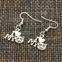 Wholesale elegant women jewelry simply style i love my cat design drop earrings