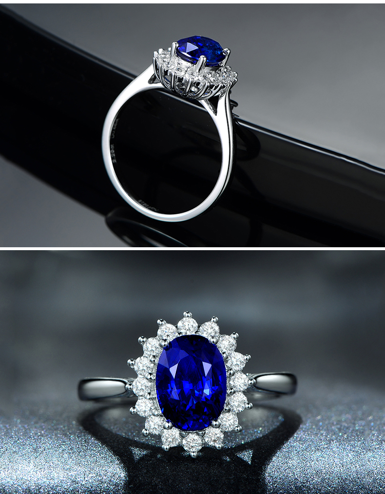 925 Silver Jewelry Ring Wholesale Engagement BlueGem Ring Diamond Ring