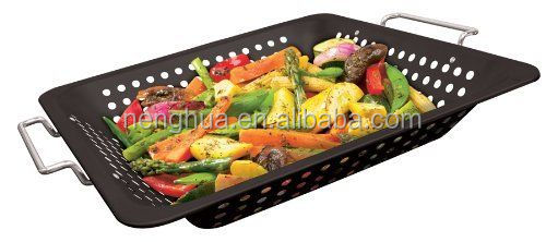 Grill Basket Porcelain Coated Square Wok Topper BBQ Stir Fry Vegetables Cooking