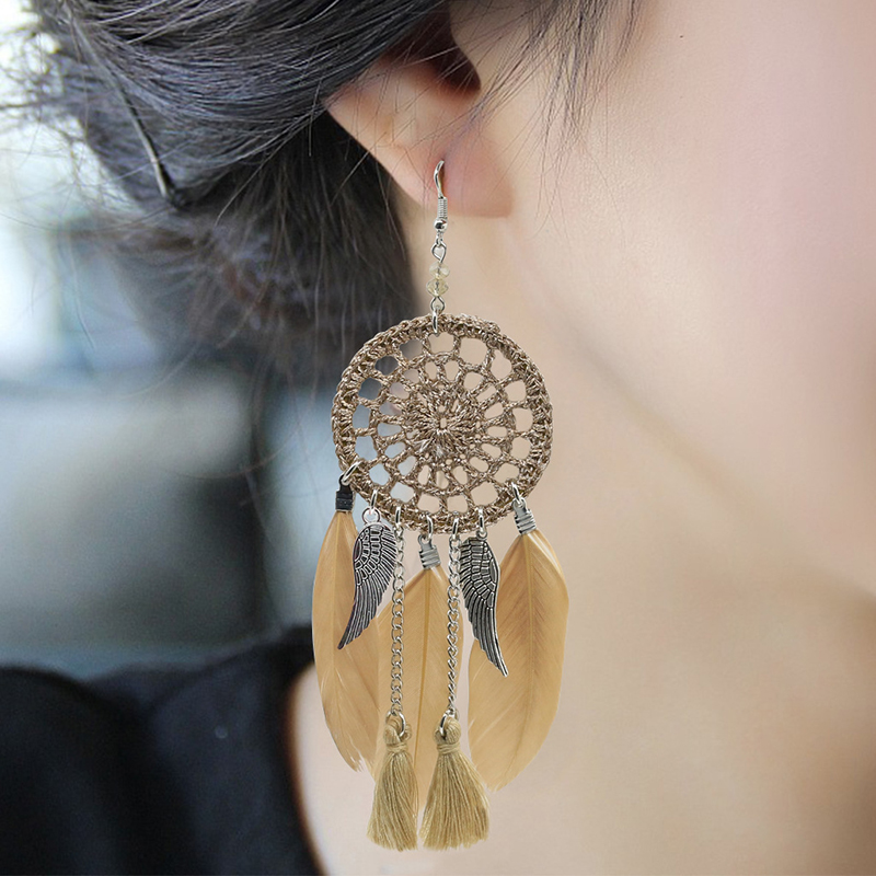 Exotic Vintage Style Feather Dangle Tassel Earrings for Women