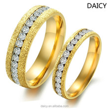 DAICY cheap wholesale stainless steel diamond couple ring saudi arabia gold wedding ring price
