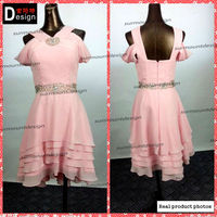 Lovely Light Pink Chiffon Wide Straps Short Beaded Short Cocktail Dresses