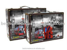 PU/leather storage trunk/box,wood luggage /trunk/box decorative for home furniture, canvas painting container