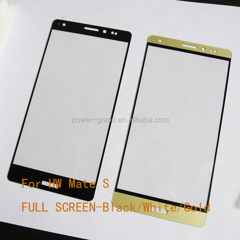 Silk screen printed flat FULLTempered glass screen protector for Huawei Mate S-Gold and Black-.JPG