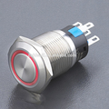 High quality ring illuminated flat round LED metal push button switch