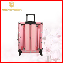 Wholesale Professional Rolling Aluminum Cosmetic Makeup Case Train Case With Lights money carrying case