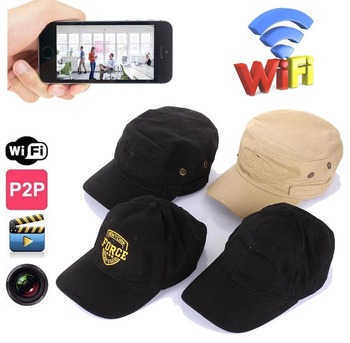720P HD WIFI Hat Spy Camera Hidden cap Portable DV Camcoder wireless Wearable IP P2P DVR PQ235