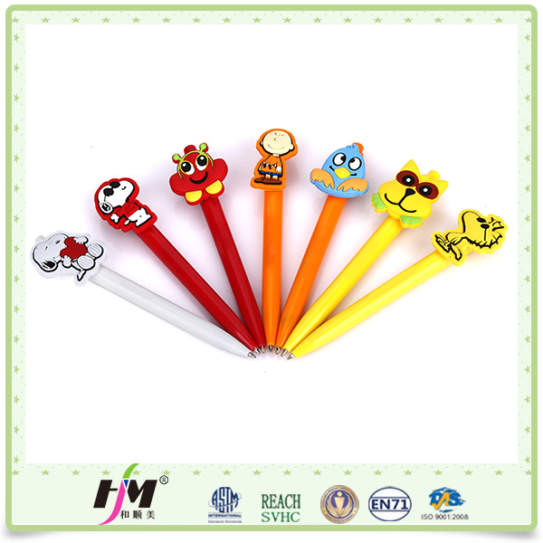 Wholesale Plastic Cheap soft PVC doll ball pen toppers