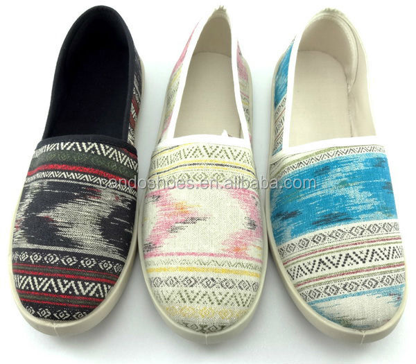 abstract patterns design slip on shoes Van Gogh printing upper canvas shoes