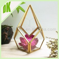 Clear Long Vintage bud Antique Art Deco Slim glass geometric terrarium air plant holder , crystal glass and metal flower vases