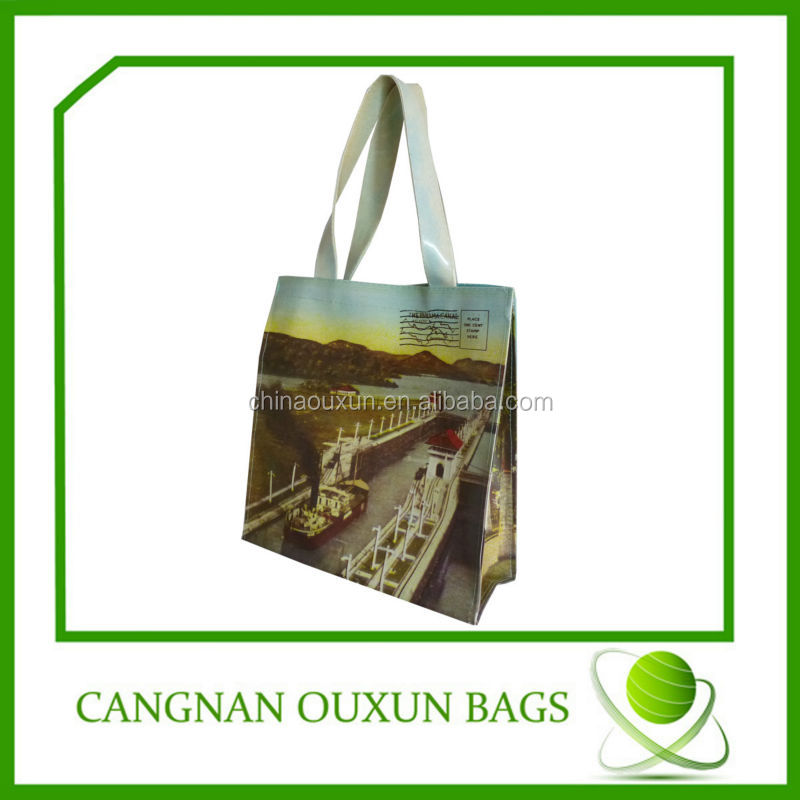 Beautiful in color stylish pvc coated cotton shopping bag