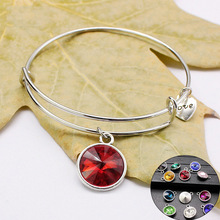 Charm Flexible Adjustable Expandable Stainless Steel Wire Bracelet Bangles With Birthstone Chart