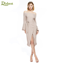 DISBEST Midi Dress Elastic Off Shoulder Long Horn Sleeve Women's Evening Dress Long Sleeve Wholesale