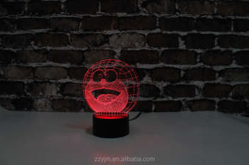 Free Shipping, YJM-2895, The Smile Head of Cat, 3D LED Decorated Colorful Nightlights, Table or Bed Lamp with Touch Control