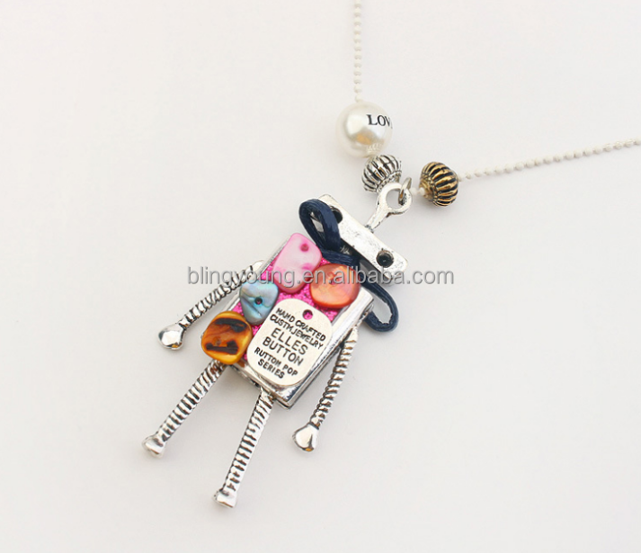 Fashion jewelry women sweater chain robot long necklace