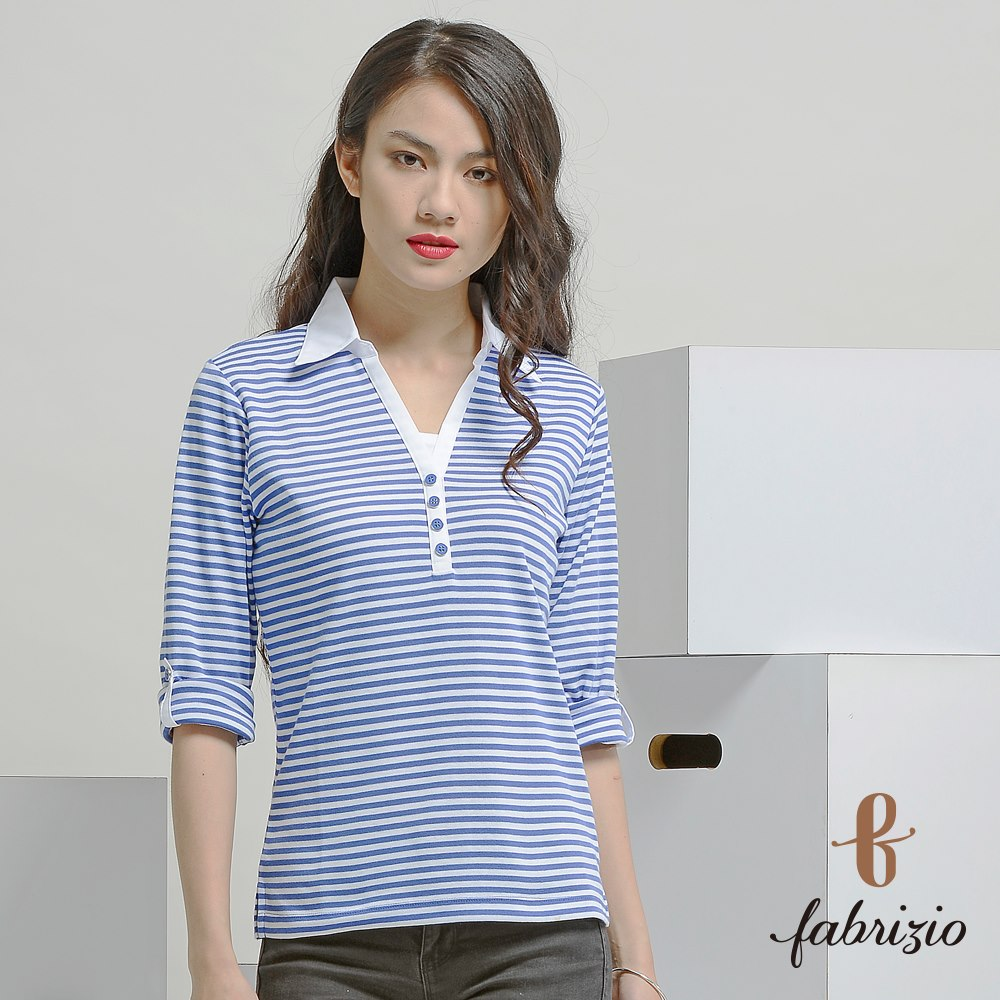 Hot Sale supplier Ladies' Blouses & Tops Polyester Polo Shirt stripes MIT shirt