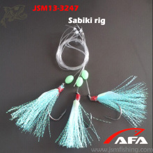 High quality three hooks krystal flash with fish skin sabiki rigs for fishing