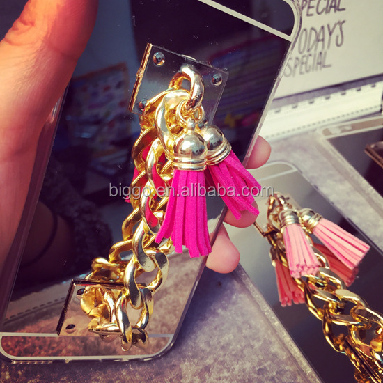 Luxury Tassel Metal Chain Mirror Rubber TPU Mobile Phone Cover Case For Apple iPhone 5S 6S 6 Plus
