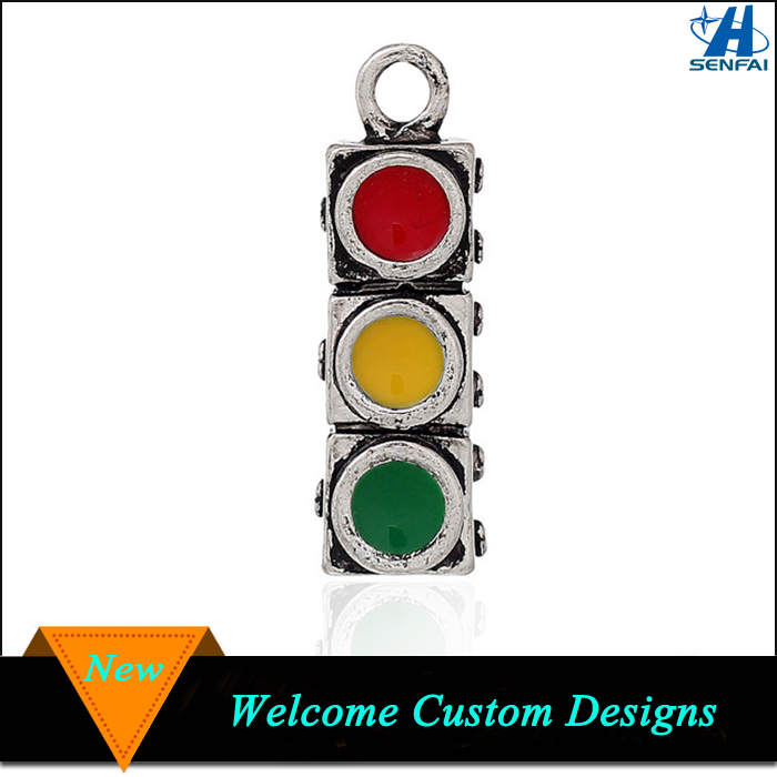 Antique Silver Enamel Traffic Light Sign Charms Traffic Light Charms