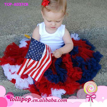 4th of July American Independence Day Patriotic red,white,blue baby girls pettiskirts outfit/white top and skirt set
