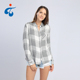 Wholesale spring rayon ladies fancy long sleeve check shirts designs