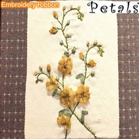 Petals shinny thread ribbon embroidery for garment